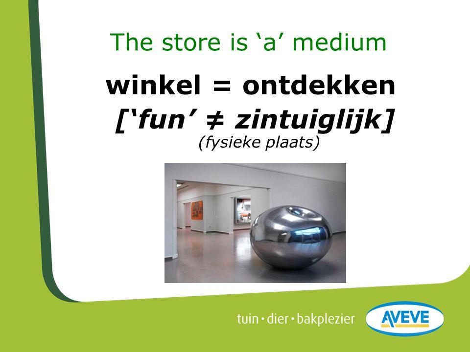 The store is 'a' medium winkel = ontdekken ['fun' ≠ zintuiglijk] (fysieke plaats)