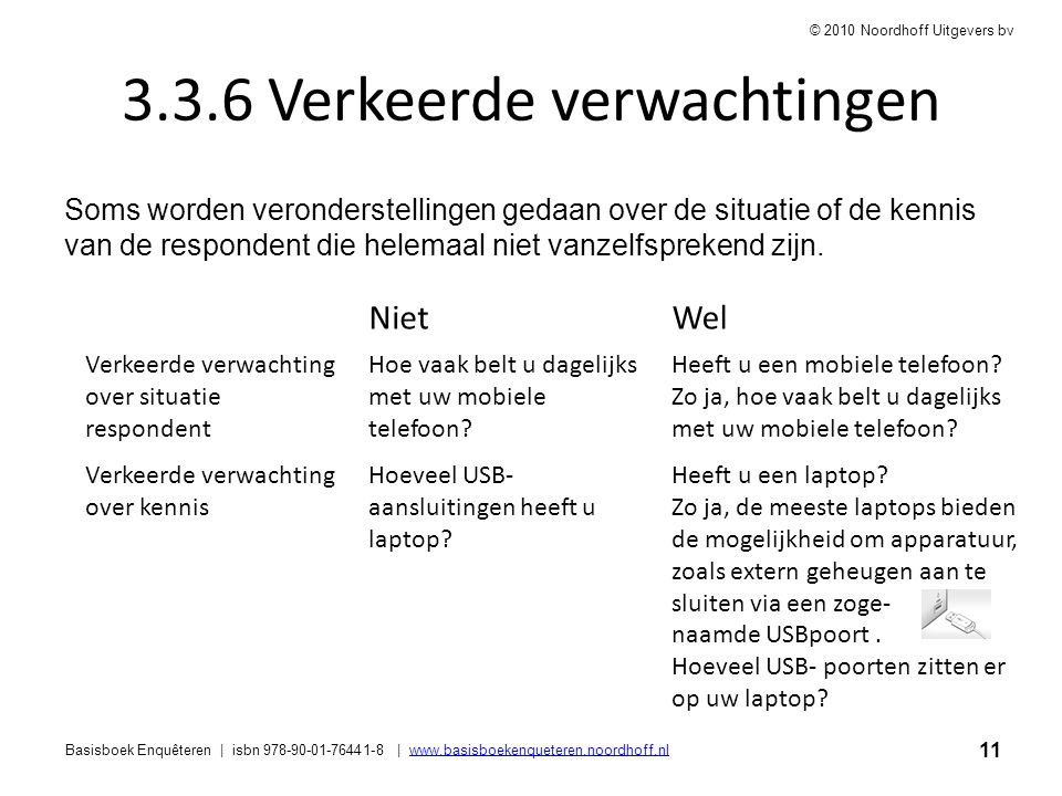 11 Basisboek Enquêteren | isbn 978-90-01-76441-8 | www.basisboekenqueteren.noordhoff.nlwww.basisboekenqueteren.noordhoff.nl © 2010 Noordhoff Uitgevers