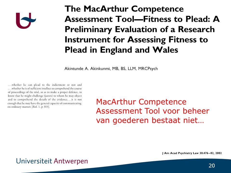 20 MacArthur Competence Assessment Tool voor beheer van goederen bestaat niet…