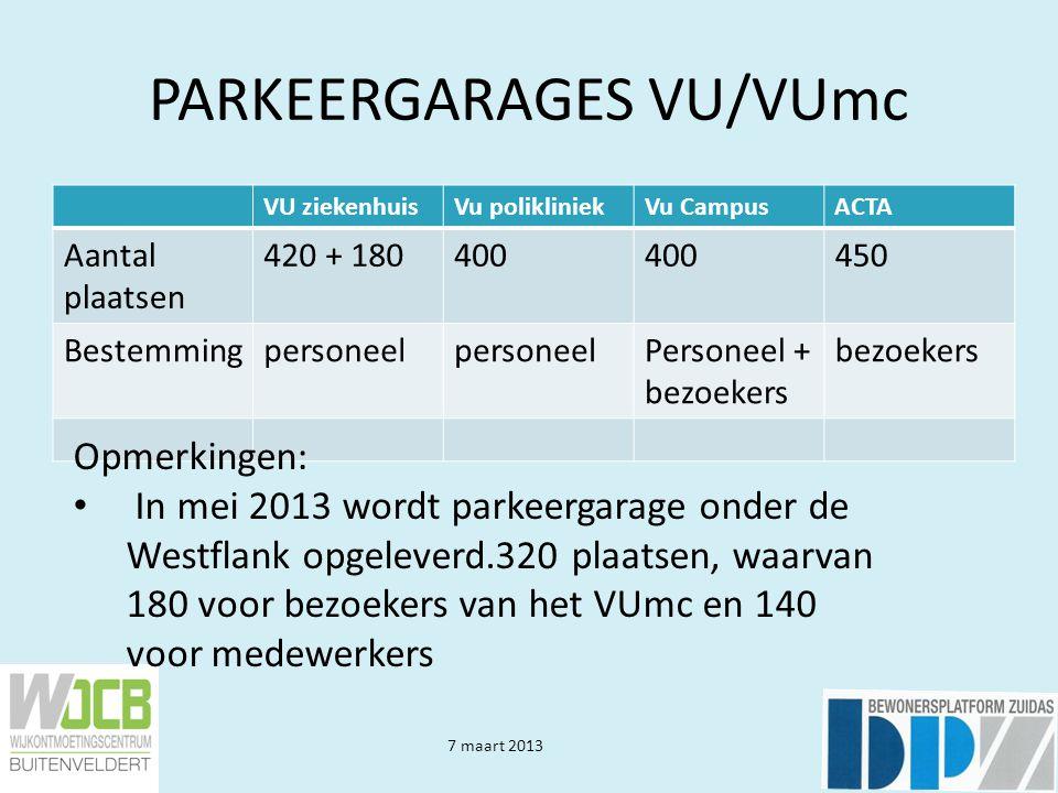 7 maart 2013 PARKEREN VU/VUmc Opmerkingen: Tijdelijke voorziening langs A4 getroffen voor 160 abonnementhouders met aansluitend vervoer met busjes.