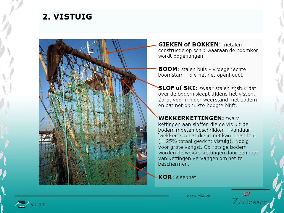 V L I Z www.vliz.be Zeelessen 2. VISTUIG GIEKEN of BOKKEN: metalen constructie op schip waaraan de boomkor wordt opgehangen. BOOM: stalen buis - vroeg