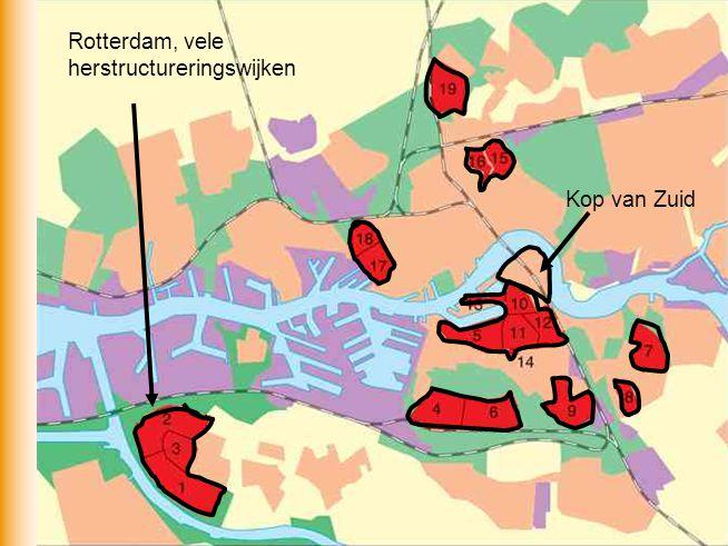 Kop van Zuid Rotterdam, vele herstructureringswijken