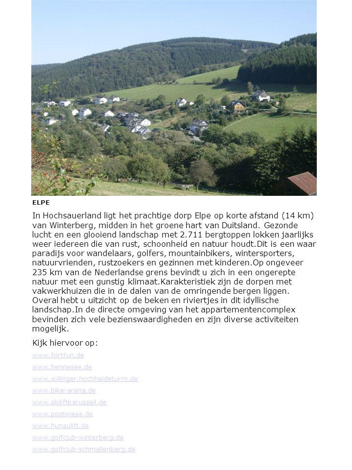ELPE In Hochsauerland ligt het prachtige dorp Elpe op korte afstand (14 km) van Winterberg, midden in het groene hart van Duitsland.
