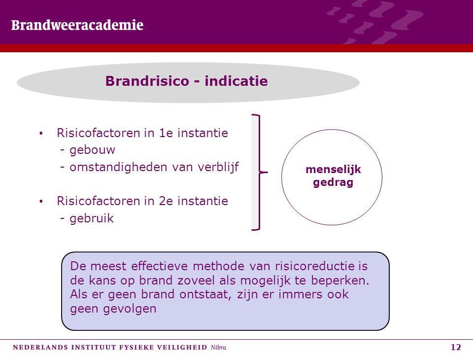 12 Brandrisico - indicatie • Risicofactoren in 1e instantie - gebouw - omstandigheden van verblijf • Risicofactoren in 2e instantie - gebruik menselij