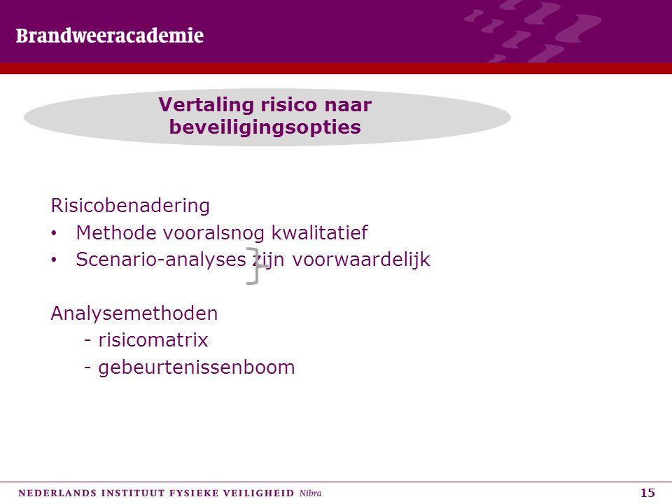 15 Vertaling risico naar beveiligingsopties Risicobenadering • Methode vooralsnog kwalitatief • Scenario-analyses zijn voorwaardelijk Analysemethoden