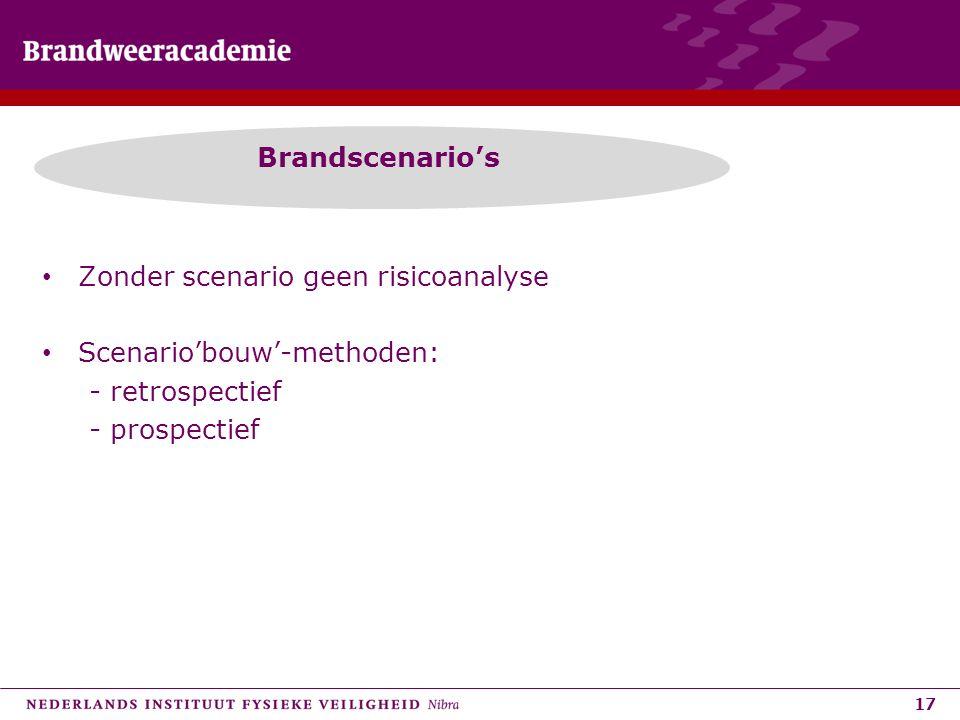 17 Brandscenario's • Zonder scenario geen risicoanalyse • Scenario'bouw'-methoden: - retrospectief - prospectief