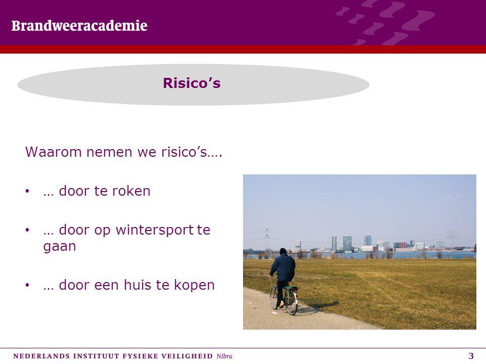 3 Risico's Waarom nemen we risico's…. • … door te roken • … door op wintersport te gaan • … door een huis te kopen