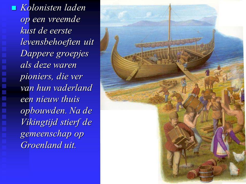 n Kolonisten laden op een vreemde kust de eerste levensbehoeften uit Dappere groepjes als deze waren pioniers, die ver van hun vaderland een nieuw thuis opbouwden.