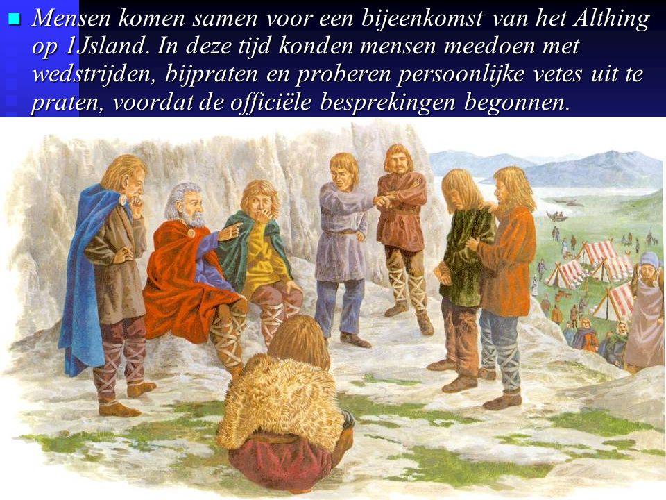 n Mensen komen samen voor een bijeenkomst van het Althing op 1Jsland.
