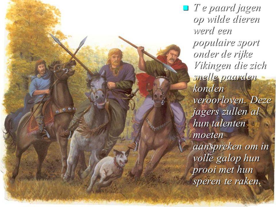 n T e paard jagen op wilde dieren werd een populaire sport onder de rijke Vikingen die zich snelle paarden konden veroorloven.