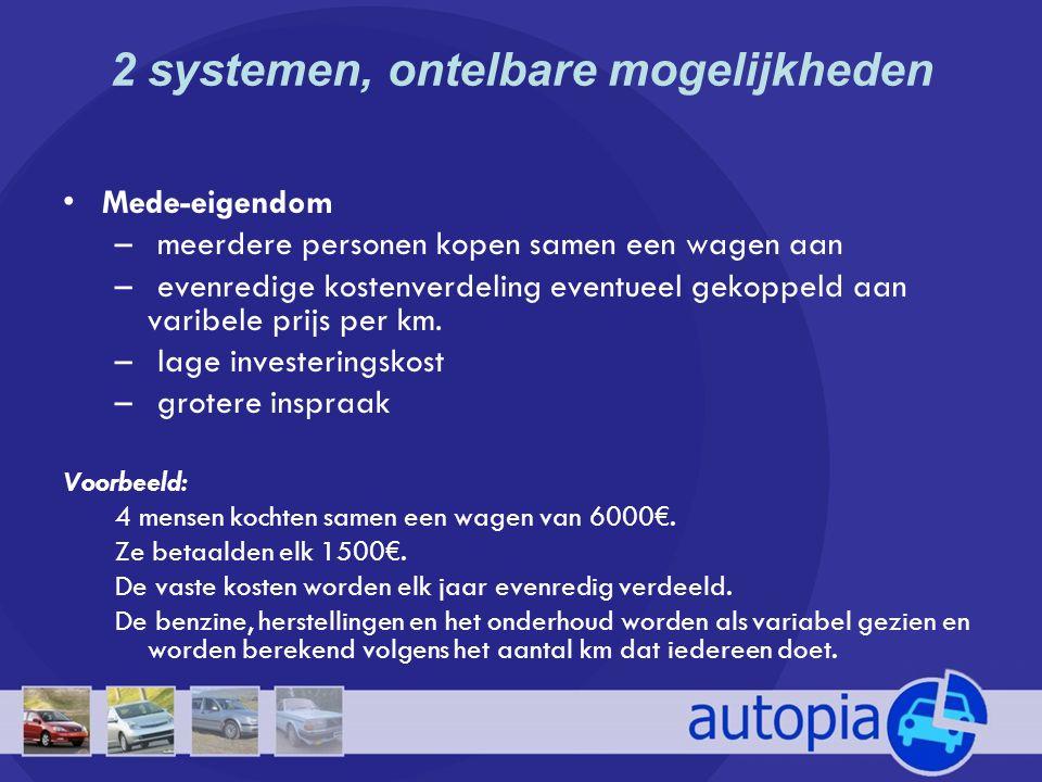2 systemen, ontelbare mogelijkheden •Mede-eigendom – meerdere personen kopen samen een wagen aan – evenredige kostenverdeling eventueel gekoppeld aan