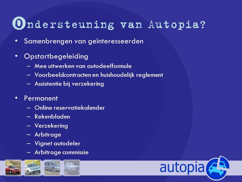 O ndersteuning van Autopia? •Samenbrengen van geïnteresseerden •Opstartbegeleiding –Mee uitwerken van autodeelformule –Voorbeeldcontracten en huishoud