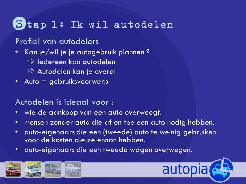 S tap 1: Ik wil autodelen Profiel van autodelers •Kan je/wil je je autogebruik plannen ?  Iedereen kan autodelen  Autodelen kan je overal •Auto = ge