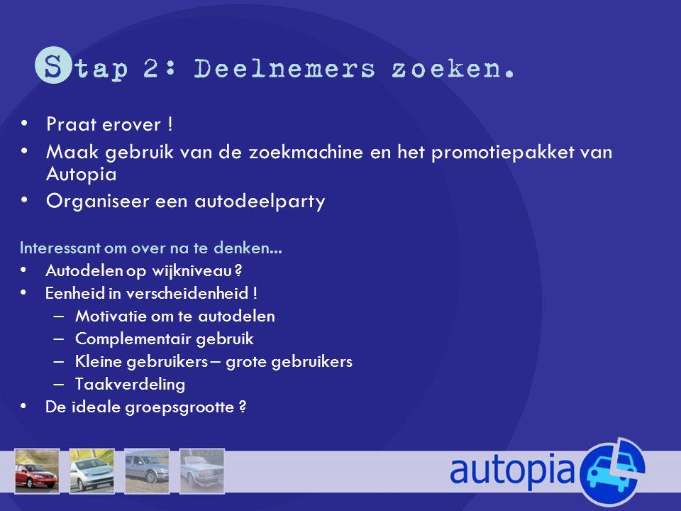 S tap 2: Deelnemers zoeken. •Praat erover ! •Maak gebruik van de zoekmachine en het promotiepakket van Autopia •Organiseer een autodeelparty Interessa