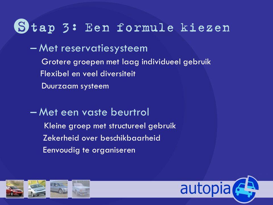 S tap 3: Een formule kiezen –Met reservatiesysteem Grotere groepen met laag individueel gebruik Flexibel en veel diversiteit Duurzaam systeem –Met een vaste beurtrol Kleine groep met structureel gebruik Zekerheid over beschikbaarheid Eenvoudig te organiseren