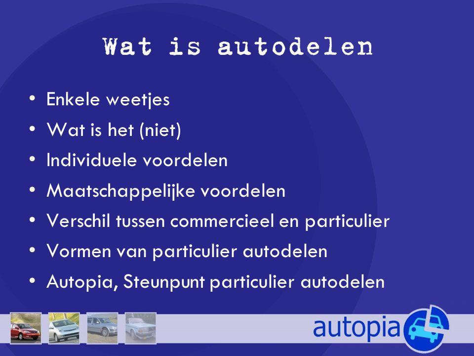 Wat is autodelen •Enkele weetjes •Wat is het (niet) •Individuele voordelen •Maatschappelijke voordelen •Verschil tussen commercieel en particulier •Vo