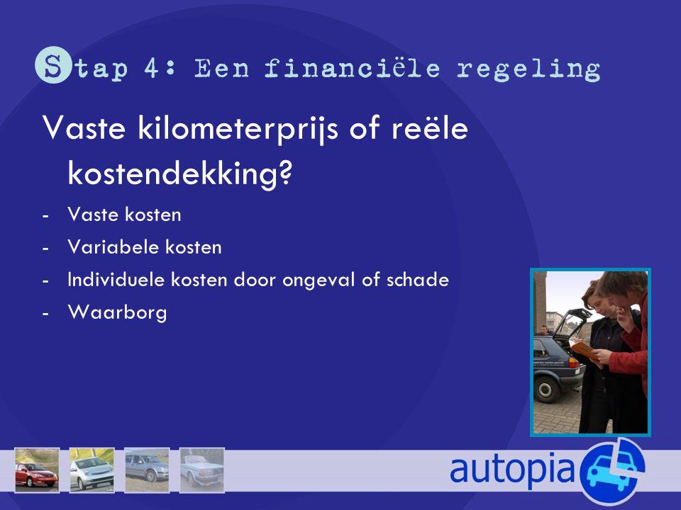S tap 4: Een financi ë le regeling Vaste kilometerprijs of reële kostendekking? -Vaste kosten -Variabele kosten -Individuele kosten door ongeval of sc