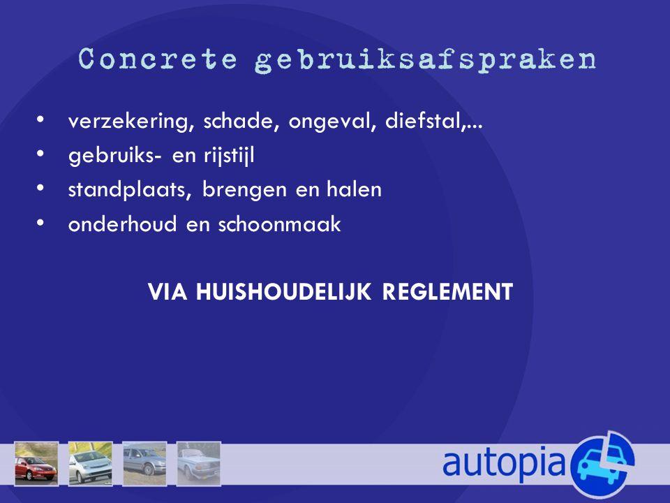 Concrete gebruiksafspraken • verzekering, schade, ongeval, diefstal,... • gebruiks- en rijstijl • standplaats, brengen en halen • onderhoud en schoonm