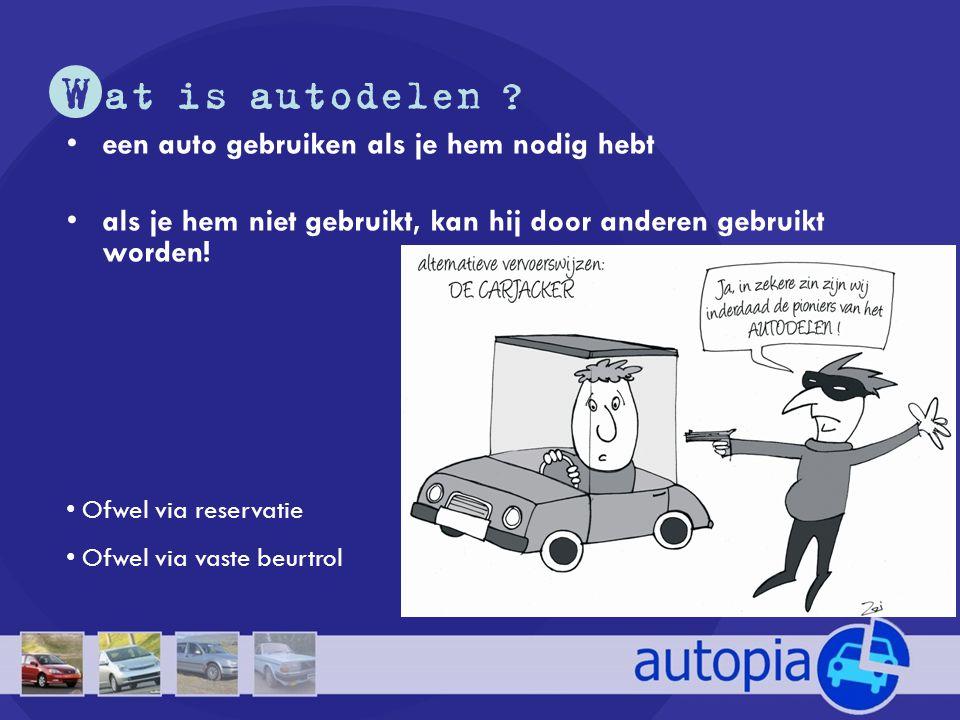 I ndividuele voordelen •GOEDKOOP : autodelen = kosten delen •Duidelijk zicht op de reële kosten van je autogebruik •Praktisch : verdeling van taken, klussen en onderhoud •Gezond : minder autorijden = meer lichaamsbeweging •Sociaal : contact met andere mensen uit je buurt