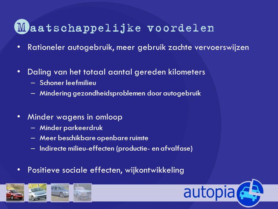 M aatschappelijke voordelen •Rationeler autogebruik, meer gebruik zachte vervoerswijzen •Daling van het totaal aantal gereden kilometers –Schoner leef