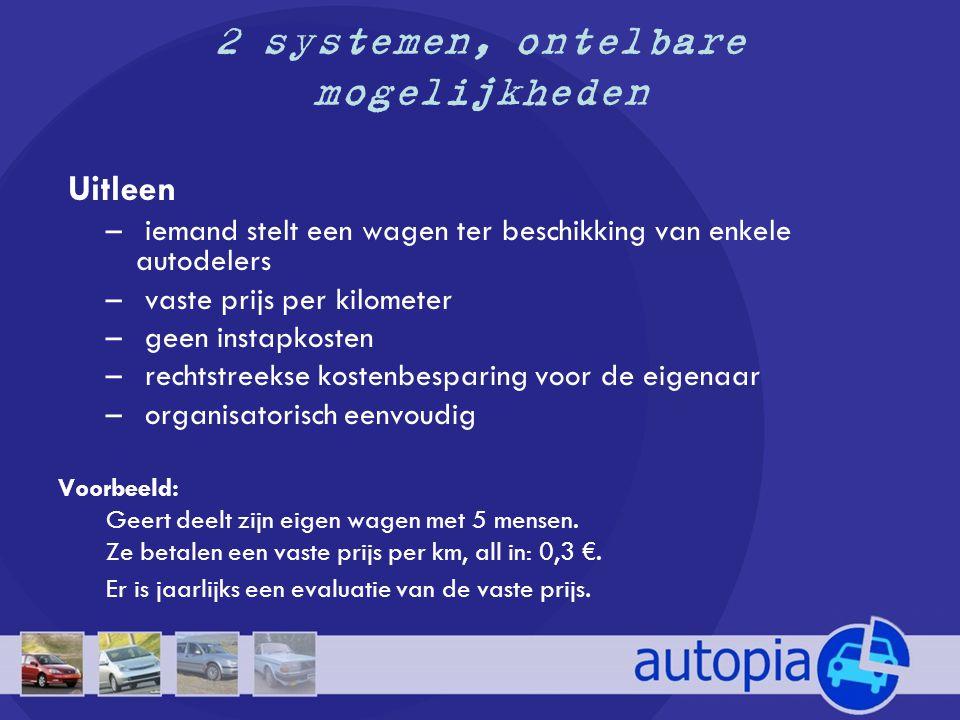 2 systemen, ontelbare mogelijkheden •Mede-eigendom – meerdere personen kopen samen een wagen aan – evenredige kostenverdeling eventueel gekoppeld aan varibele prijs per km.
