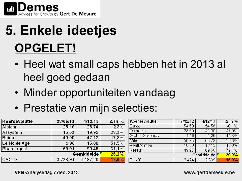 www.gertdemesure.beVFB-Analysedag 7 dec. 2013 5. Enkele ideetjes OPGELET! •Heel wat small caps hebben het in 2013 al heel goed gedaan •Minder opportun