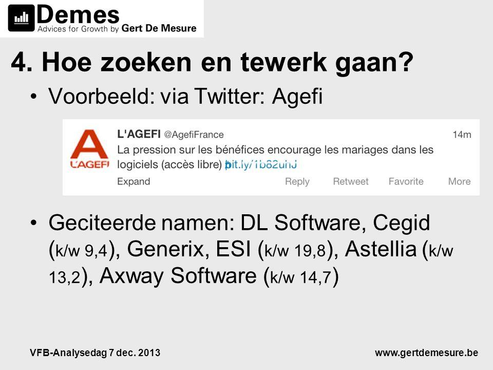 www.gertdemesure.beVFB-Analysedag 7 dec. 2013 4. Hoe zoeken en tewerk gaan? •Voorbeeld: via Twitter: Agefi •Geciteerde namen: DL Software, Cegid ( k/w