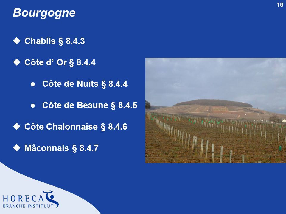 16 Bourgogne uChablis § 8.4.3 uCôte d' Or § 8.4.4 l Côte de Nuits § 8.4.4 l Côte de Beaune § 8.4.5 uCôte Chalonnaise § 8.4.6 uMâconnais § 8.4.7