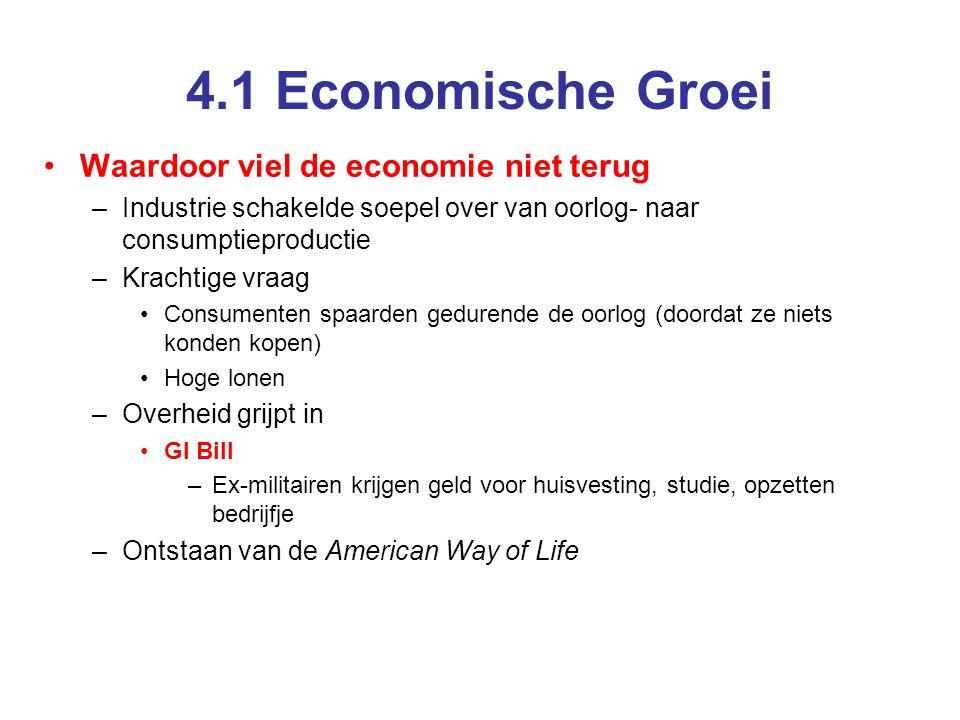 4.1 Economische Groei •Waardoor viel de economie niet terug –Industrie schakelde soepel over van oorlog- naar consumptieproductie –Krachtige vraag •Co