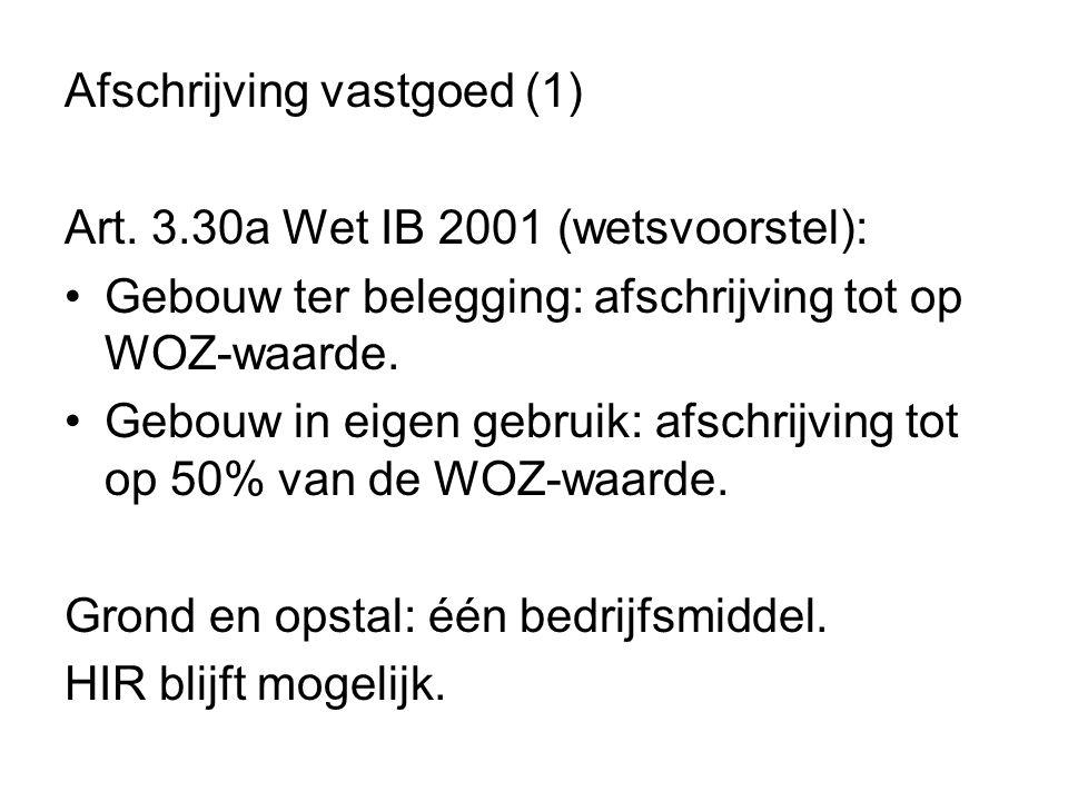 Afschrijving vastgoed (1) Art. 3.30a Wet IB 2001 (wetsvoorstel): •Gebouw ter belegging: afschrijving tot op WOZ-waarde. •Gebouw in eigen gebruik: afsc