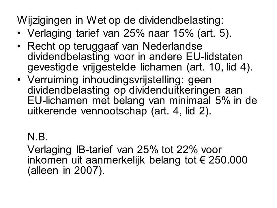 Wijzigingen in Wet op de dividendbelasting: •Verlaging tarief van 25% naar 15% (art. 5). •Recht op teruggaaf van Nederlandse dividendbelasting voor in