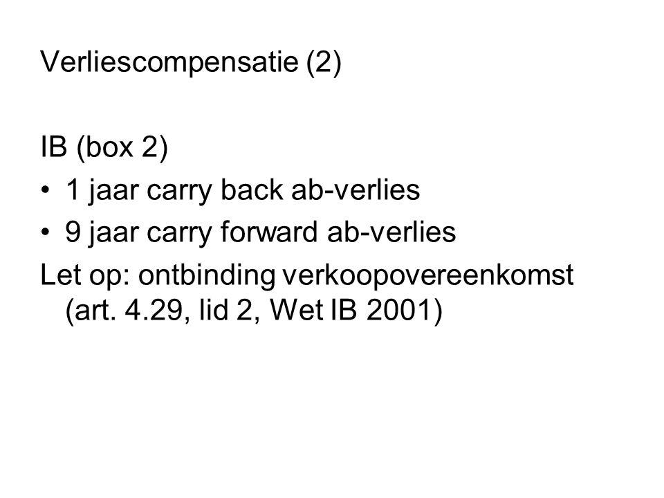 Verliescompensatie (2) IB (box 2) •1 jaar carry back ab-verlies •9 jaar carry forward ab-verlies Let op: ontbinding verkoopovereenkomst (art. 4.29, li