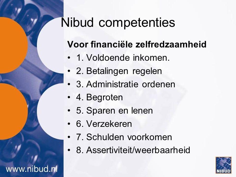 Nibud competenties Voor financiële zelfredzaamheid •1.