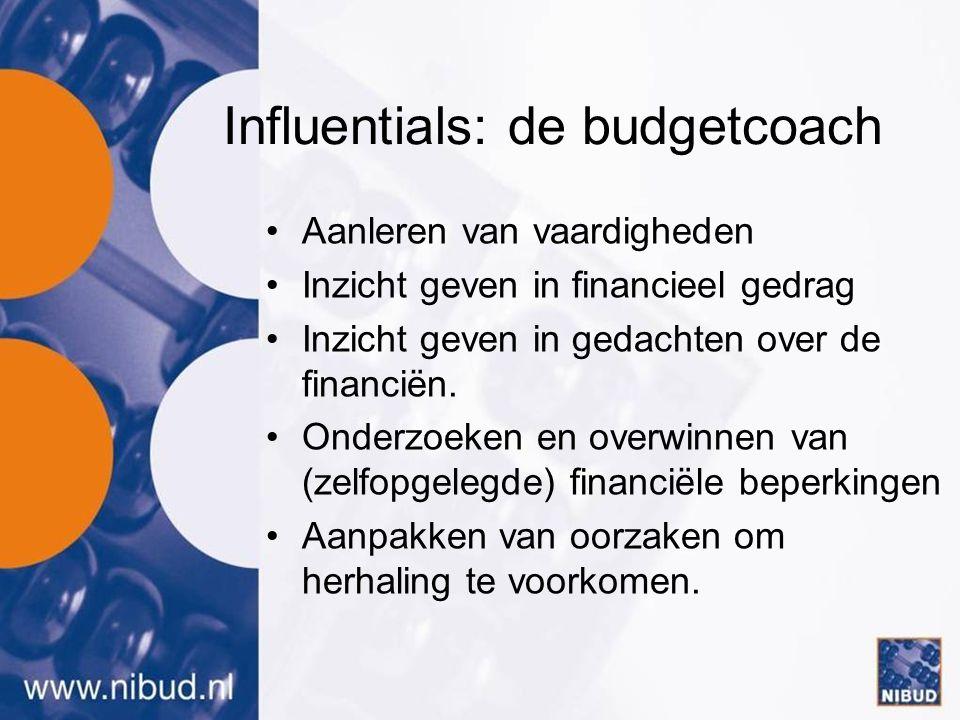 Influentials: de budgetcoach •Aanleren van vaardigheden •Inzicht geven in financieel gedrag •Inzicht geven in gedachten over de financiën.