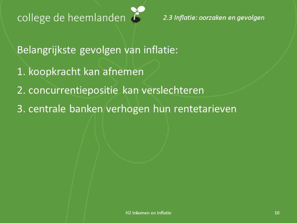 H2 Inkomen en inflatie10 2.3 Inflatie: oorzaken en gevolgen Belangrijkste gevolgen van inflatie: 1.