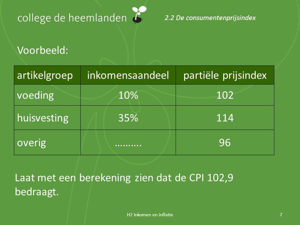H2 Inkomen en inflatie7 2.2 De consumentenprijsindex Voorbeeld: artikelgroepinkomensaandeelpartiële prijsindex voeding10%102 huisvesting35%114 overig……….96 Laat met een berekening zien dat de CPI 102,9 bedraagt.