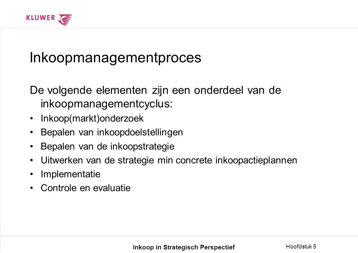 Inkoop in Strategisch Perspectief Hoofdstuk 5 Inkoopmanagementproces De volgende elementen zijn een onderdeel van de inkoopmanagementcyclus: •Inkoop(markt)onderzoek •Bepalen van inkoopdoelstellingen •Bepalen van de inkoopstrategie •Uitwerken van de strategie min concrete inkoopactieplannen •Implementatie •Controle en evaluatie