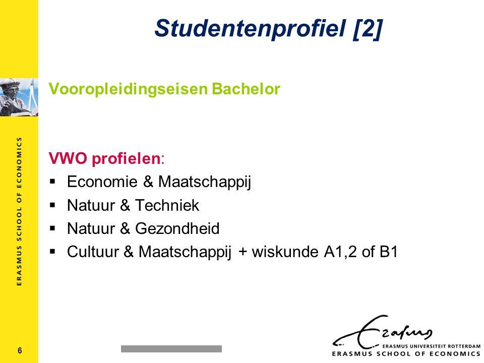 Vooropleidingseisen Bachelor VWO profielen:  Economie & Maatschappij  Natuur & Techniek  Natuur & Gezondheid  Cultuur & Maatschappij + wiskunde A1,2 of B1 Studentenprofiel [2] 6