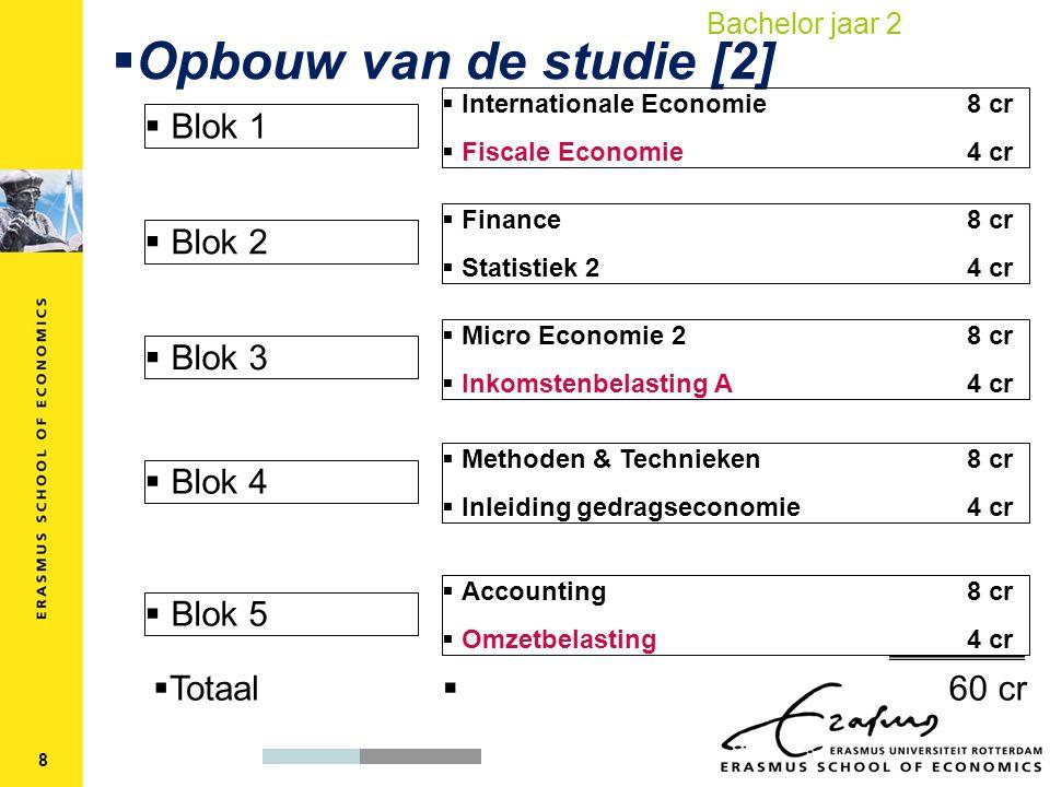  Opbouw van de studie [2]  Blok 1  Blok 2  Internationale Economie8 cr  Fiscale Economie4 cr  Finance8 cr  Statistiek 24 cr  Micro Economie 28 cr  Inkomstenbelasting A4 cr  Methoden & Technieken8 cr  Inleiding gedragseconomie 4 cr  Accounting8 cr  Omzetbelasting4 cr  Blok 3  Blok 4  Blok 5  Totaal  60 cr 8 Bachelor jaar 2