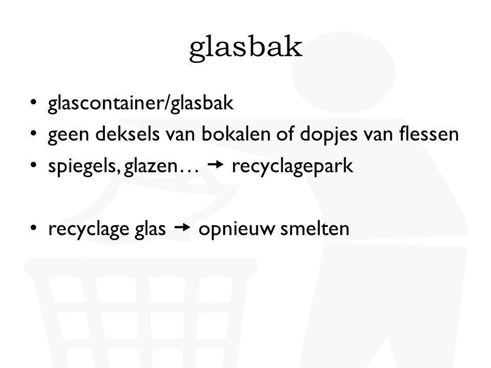 glasbak • glascontainer/glasbak • geen deksels van bokalen of dopjes van flessen • spiegels, glazen…  recyclagepark • recyclage glas  opnieuw smelte