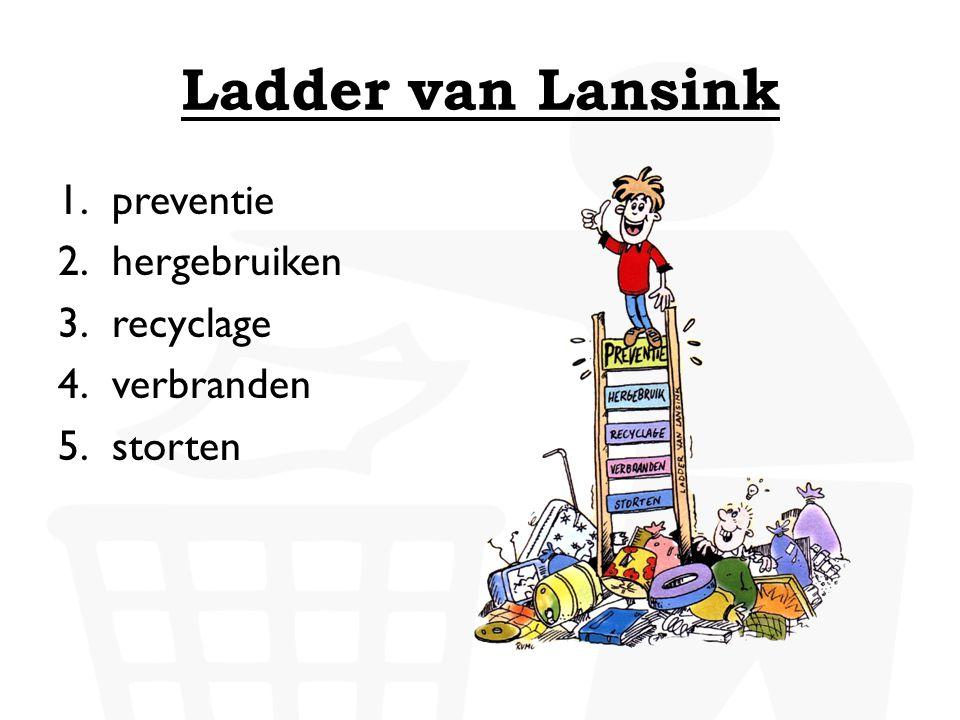 Ladder van Lansink 1.preventie 2.hergebruiken 3.recyclage 4.verbranden 5.storten