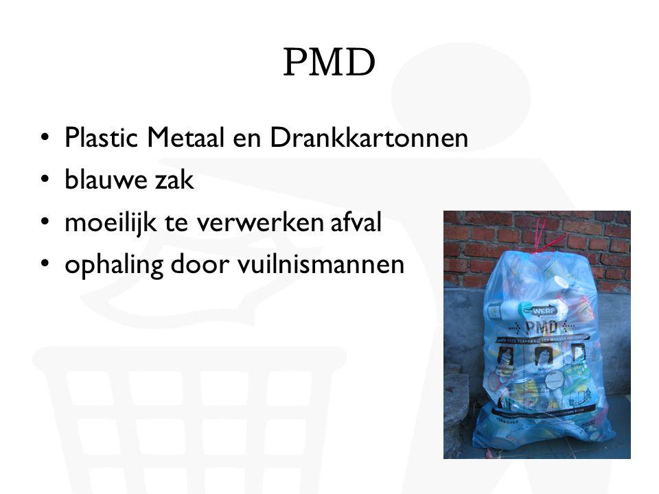 PMD • Plastic flessen  kledij, tapijten • drankkartons  papier en karton • metalen verpakkingen  nieuwe metalen verpakkingen Wat mag niet in de PMD-zak.