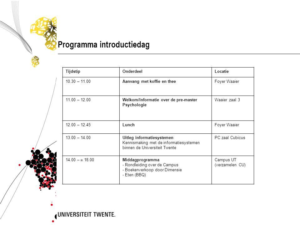 Programma introductiedag TijdstipOnderdeelLocatie 10.30 – 11.00Aanvang met koffie en theeFoyer Waaier 11.00 – 12.00Welkom/Informatie over de pre-maste