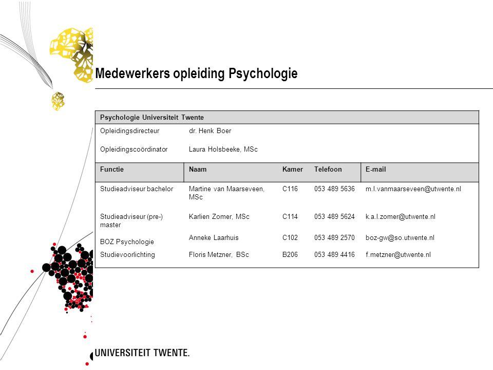 Medewerkers opleiding Psychologie Psychologie Universiteit Twente Opleidingsdirecteurdr. Henk Boer OpleidingscoördinatorLaura Holsbeeke, MSc FunctieNa
