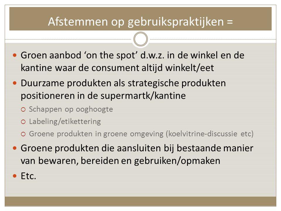 Afstemmen op gebruikspraktijken =  Groen aanbod 'on the spot' d.w.z.