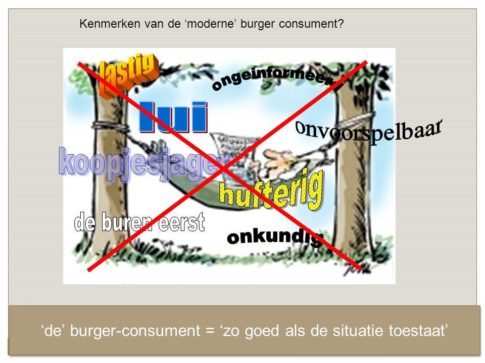 Kenmerken van de 'moderne' burger consument.