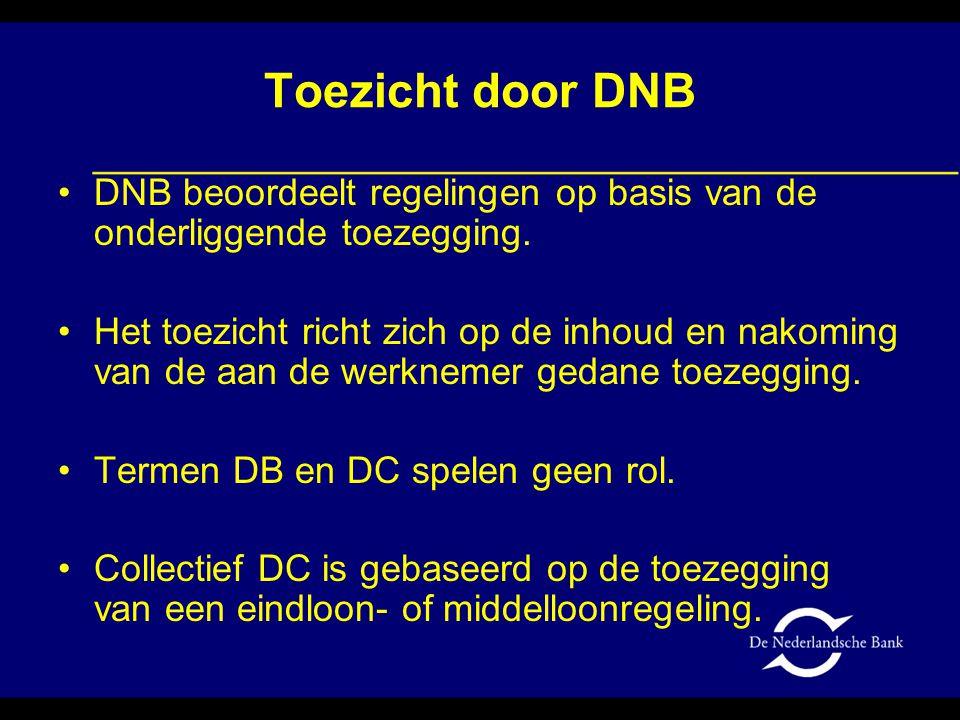 Toezicht door DNB •DNB beoordeelt regelingen op basis van de onderliggende toezegging. •Het toezicht richt zich op de inhoud en nakoming van de aan de