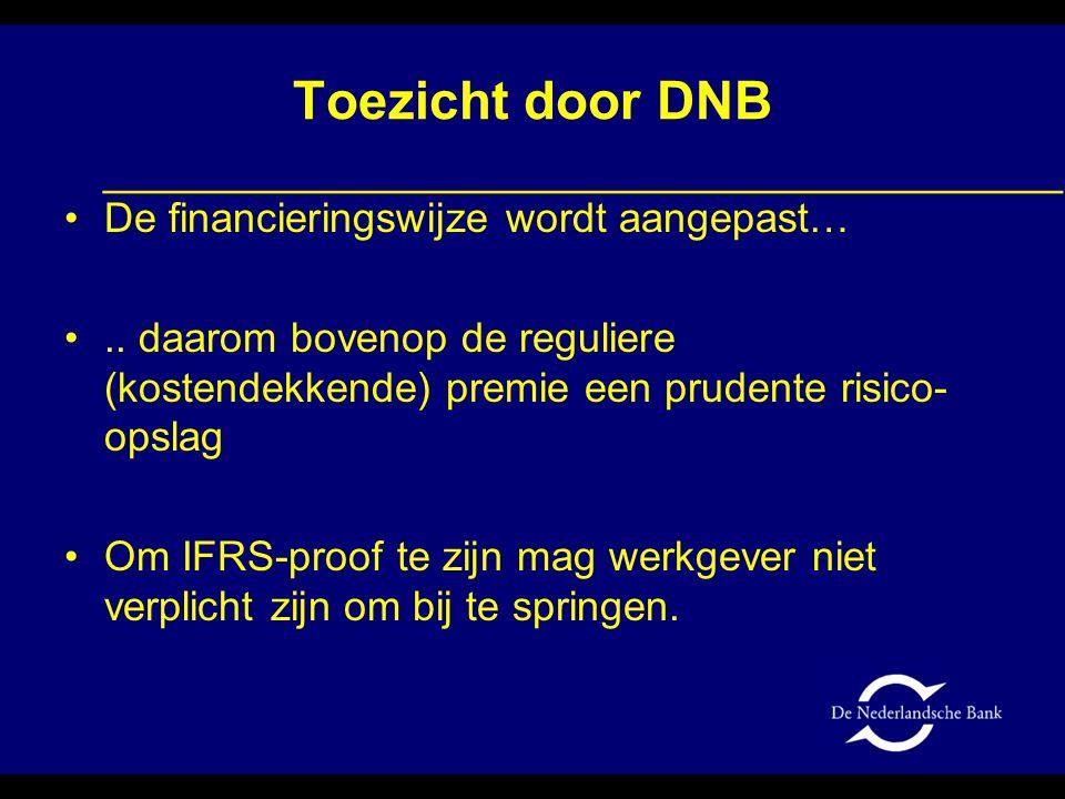 Toezicht door DNB •De financieringswijze wordt aangepast… •.. daarom bovenop de reguliere (kostendekkende) premie een prudente risico- opslag •Om IFRS