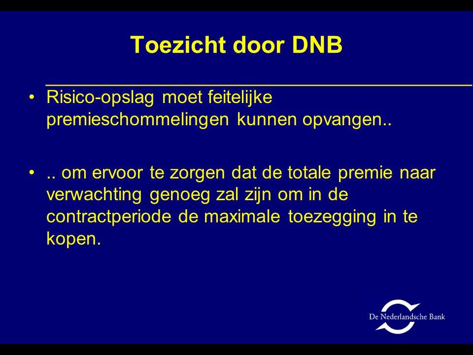 Toezicht door DNB •Risico-opslag moet feitelijke premieschommelingen kunnen opvangen.. •.. om ervoor te zorgen dat de totale premie naar verwachting g