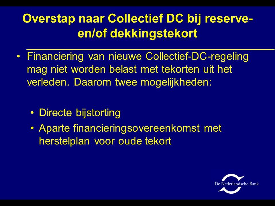 Overstap naar Collectief DC bij reserve- en/of dekkingstekort •Financiering van nieuwe Collectief-DC-regeling mag niet worden belast met tekorten uit
